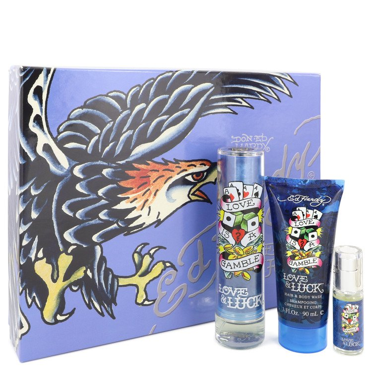 Love & Luck Cologne by Christian Audigier - - Gift Set - 1.7 oz Eau De Toilette Spray + 3 oz Hair & Body Wash + .25 oz Mini EDT